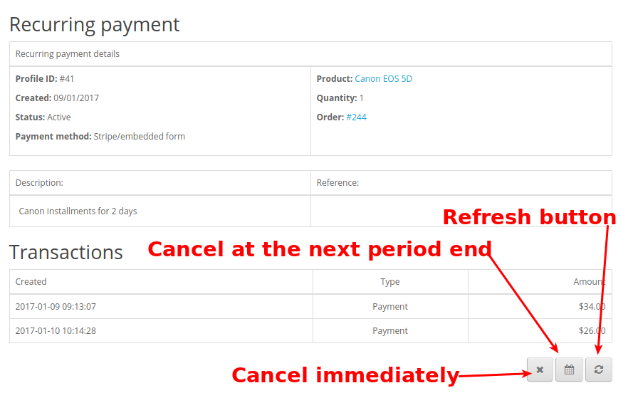 Customer account. Recurring payment management