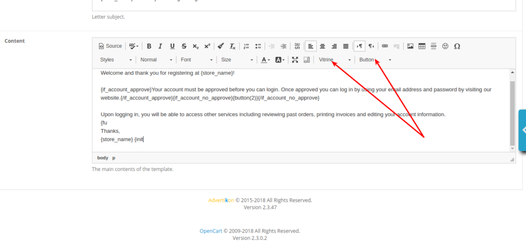 Email Manager. Content input field