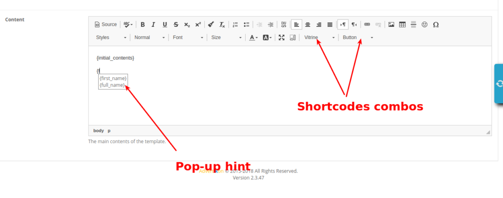 Email Manager. Shortcoddable input field
