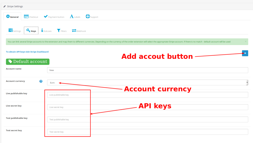 Stripe for OpenCart configuration. API keys tab