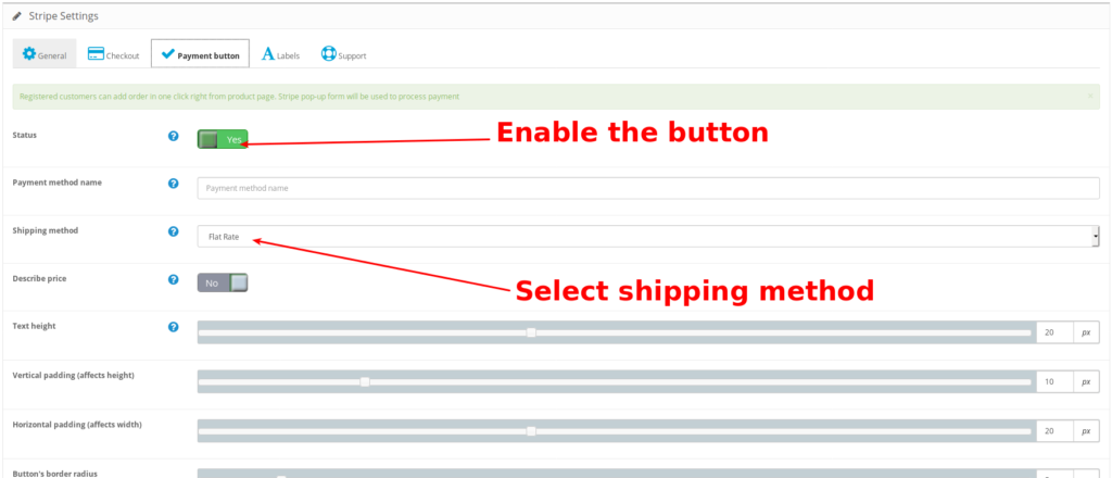 Stripe for OpenCart. Pay In One Click Button configuration